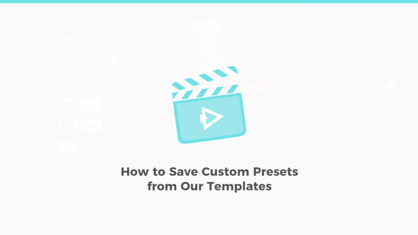 How to Save Custom Presets from Our Templates