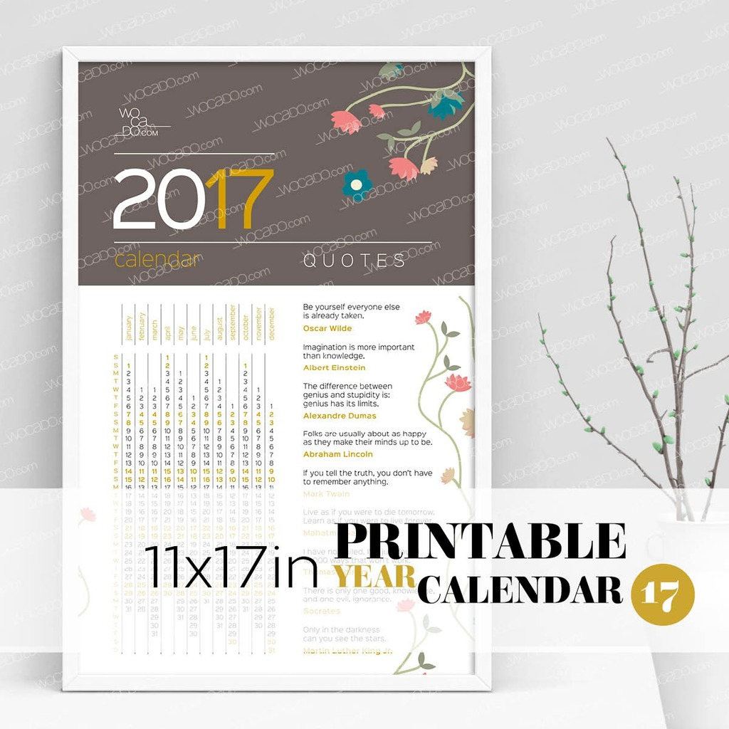 Quotes For An Awesome Year U2013 Full Year Printable Calendar 2017   11x17  Poster, Flower Decoration   Wocado Store