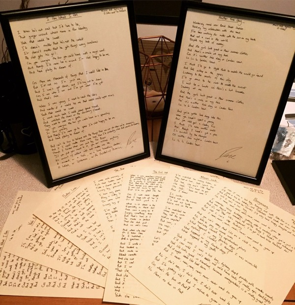 Handwritten Lyric Sheet (with or without a frame)