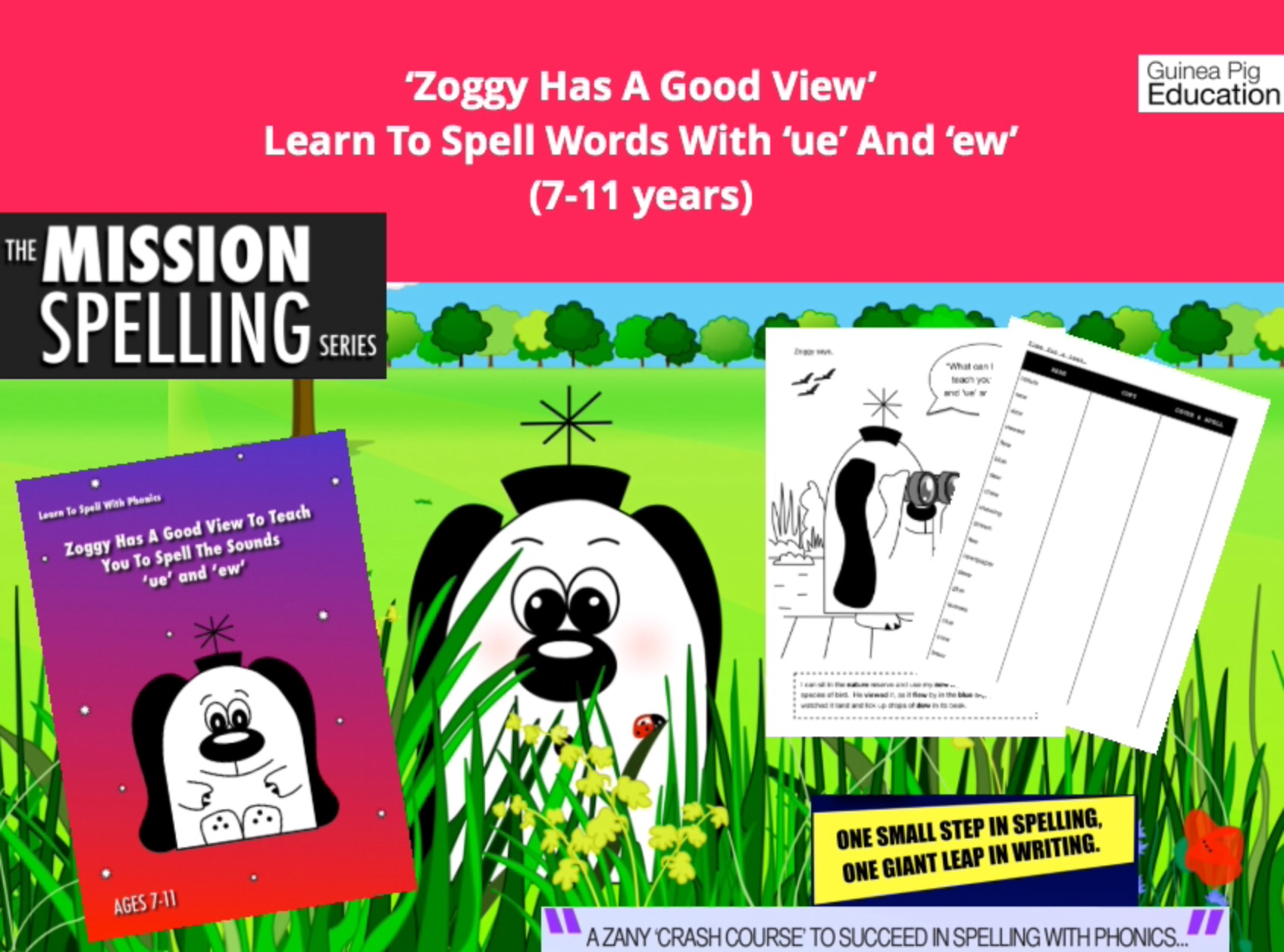 'Zoggy Has A Good View' Learn To Spell Words With 'ue' and 'ew': Learn To  Spell With Phonics (7-11) - Guinea Pig Education Shop
