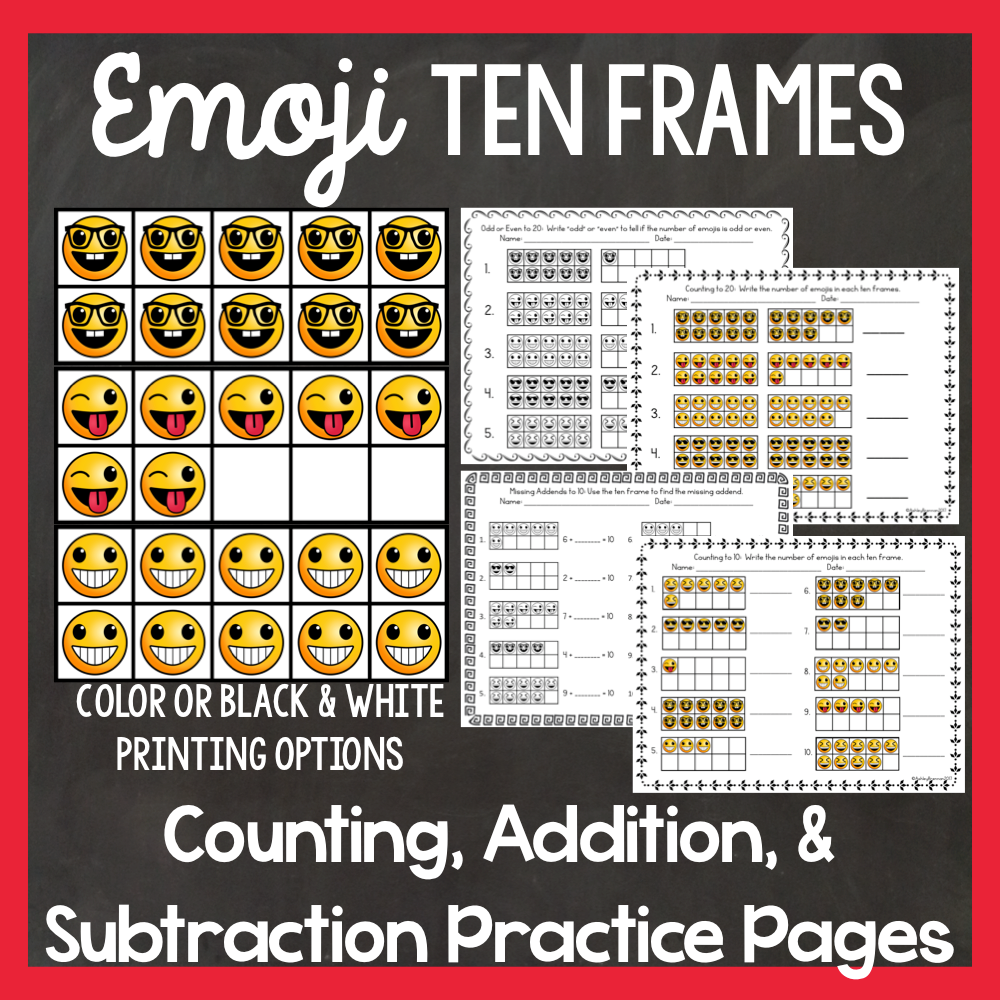 Ten Frame Emojis: Counting, Addition, and Subtraction Practice ...