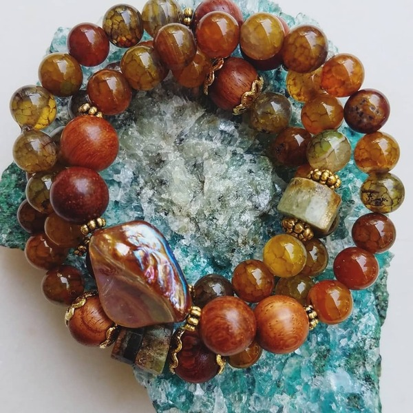 Earth Heart 3-piece stack | Butterscotch & moss agate, green garnet, wood bracelets