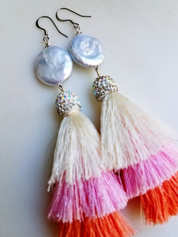 Flower Moon earrings | 3-tier tassel & luminous fresh water coin pearl