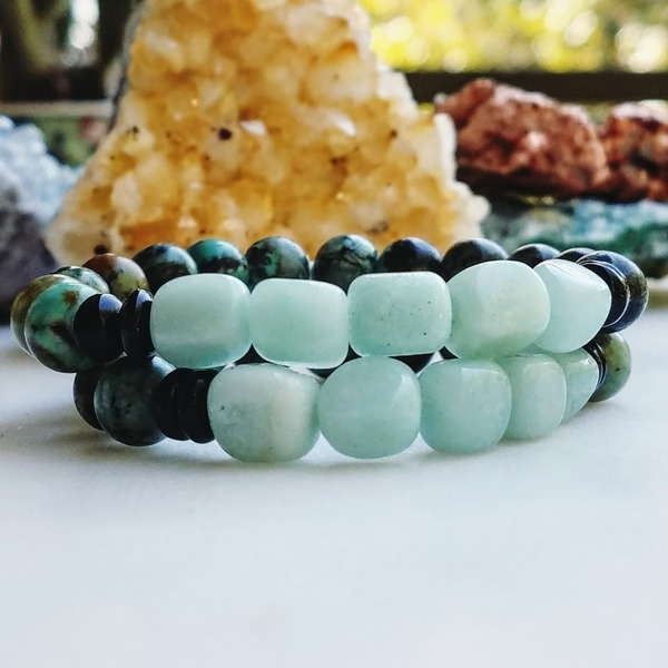 Awakened Heart | African Turquoise + Amazonite Stretch Bracelet