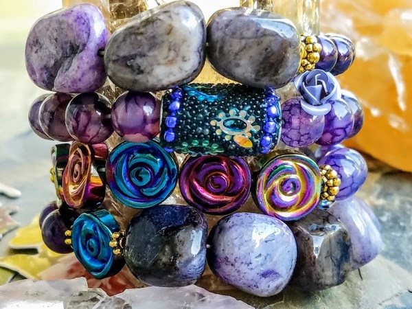 Purple Mountain Lupine | 4-piece Gemstone Bracelet Stack