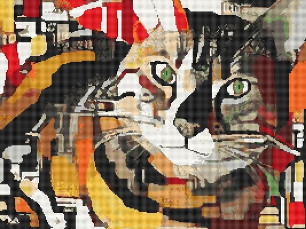 Abstract Pop Art Cat Terry Fleckney Counted Cross Stitch Pattern