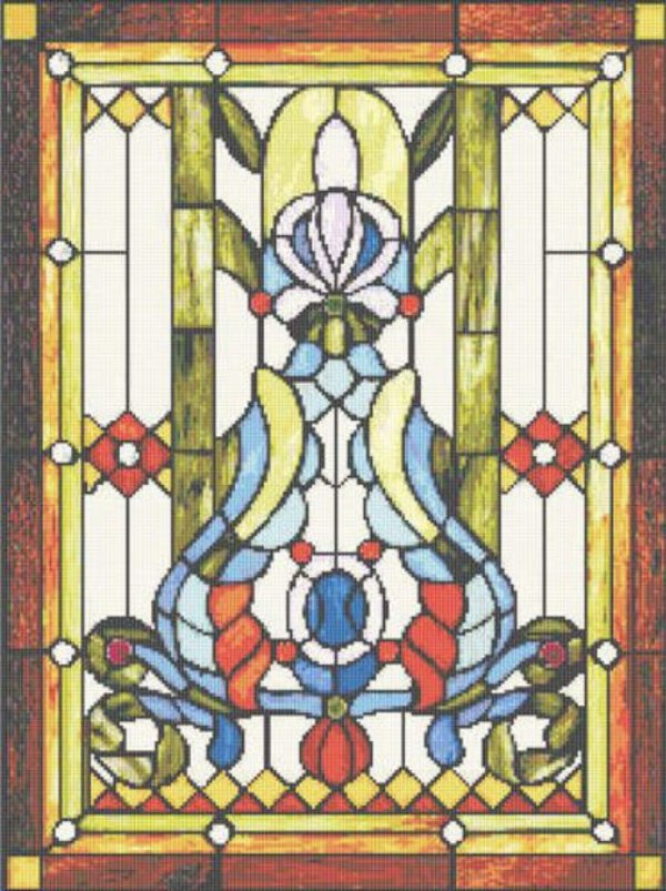 Arts and Crafts Stained Glass Cross Stitch Pattern