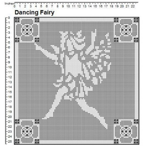 Dancing Fairy Filet Crochet Pattern