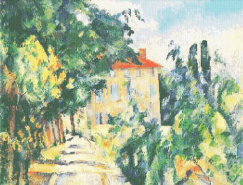 CEZANNE House Red Roof Counted Cross Stitch Pattern
