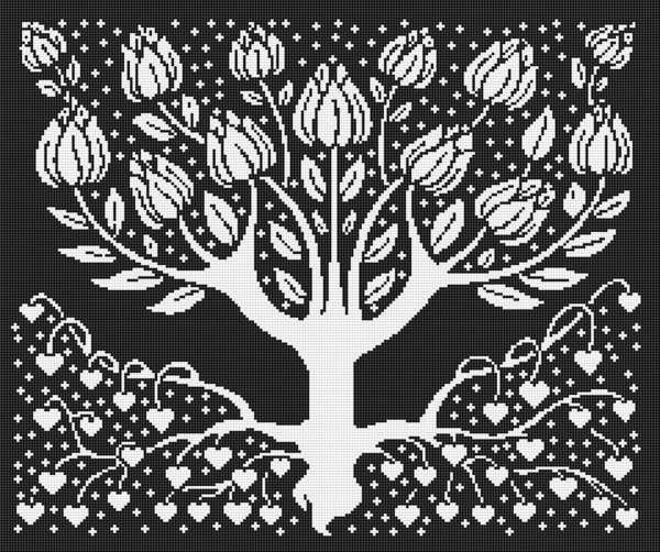 Art Nouveau Tree Of Life Silhouette Cross Stitch Pattern