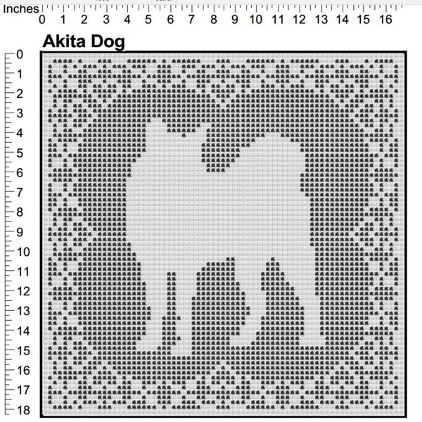 Akita Dog Filet Crochet Pattern Doily Afghan Picture