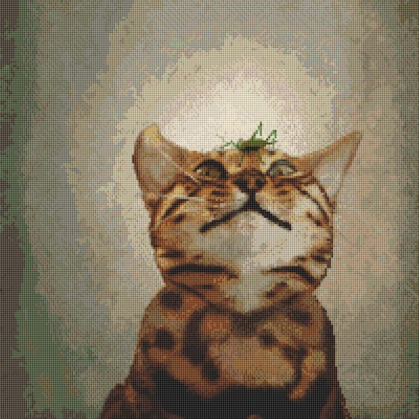 Cat With Grasshopper Cross Stitch Pattern