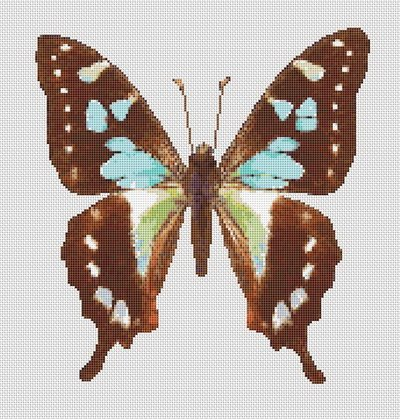 Butterfly Cross Stitch Pattern #10 Turquoise Brown
