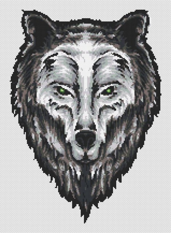 Wolf Head Portrait Cross Stitch Pattern