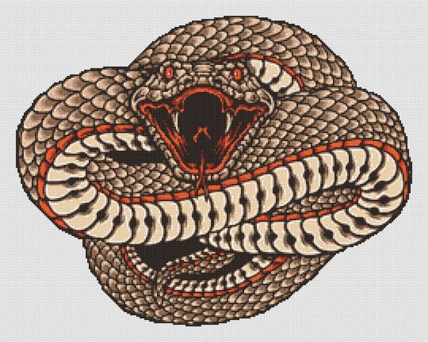 Serpent Snake Coil Cross Stitch Pattern