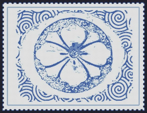 Blue Rose Medallion Postage Stamp Cross Stitch Pattern