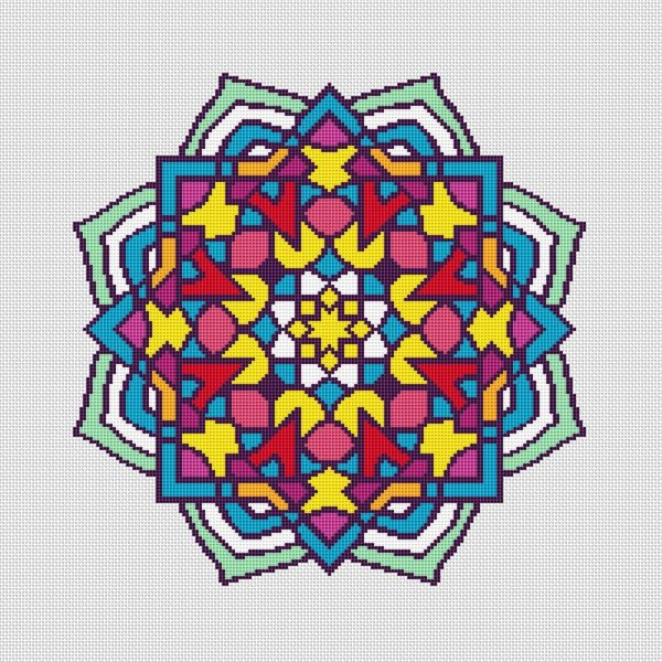 Colorful Mosaic Mandala Cross Stitch Pattern 002