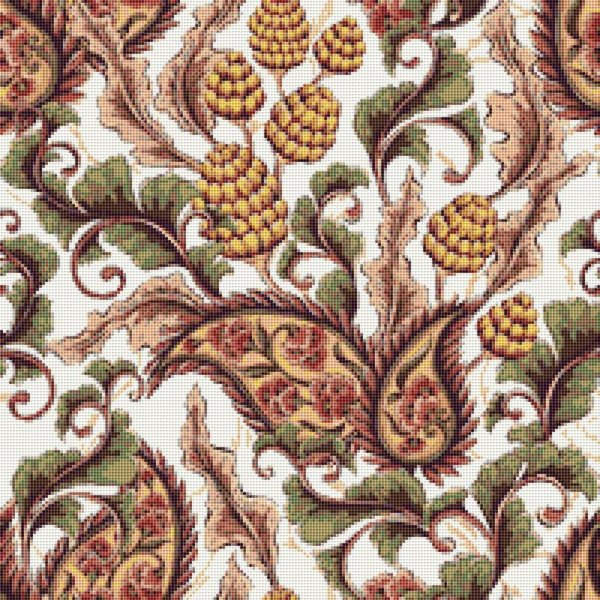 Paisley and Flowers Counted Cross Stitch Pattern