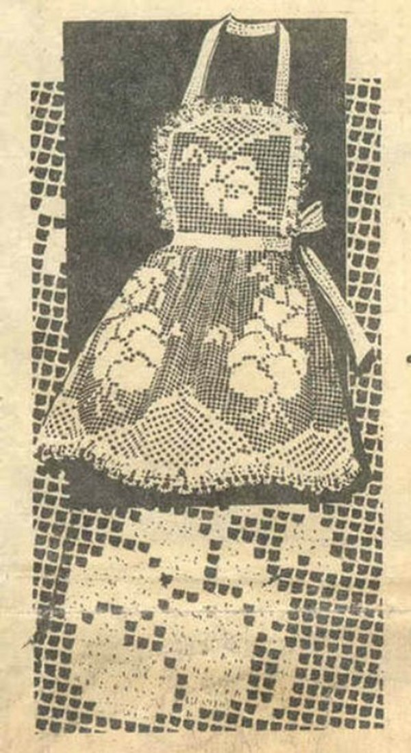 Vintage Crocheted Apron Pattern Filet Crochet Pansies