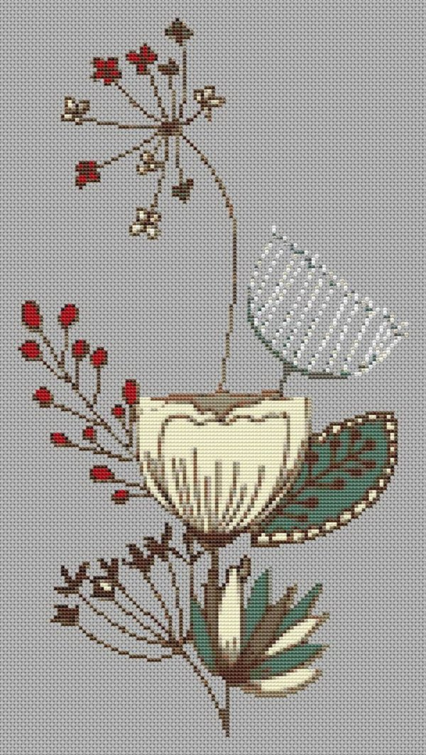Mid Century Flowers Cross Stitch Pattern Left Facing