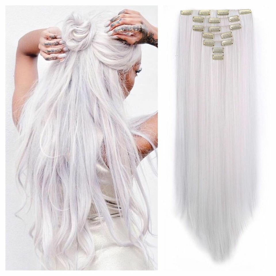 Pure White Clip In Hair Extensions 24 Remy Human Hair 180g Double