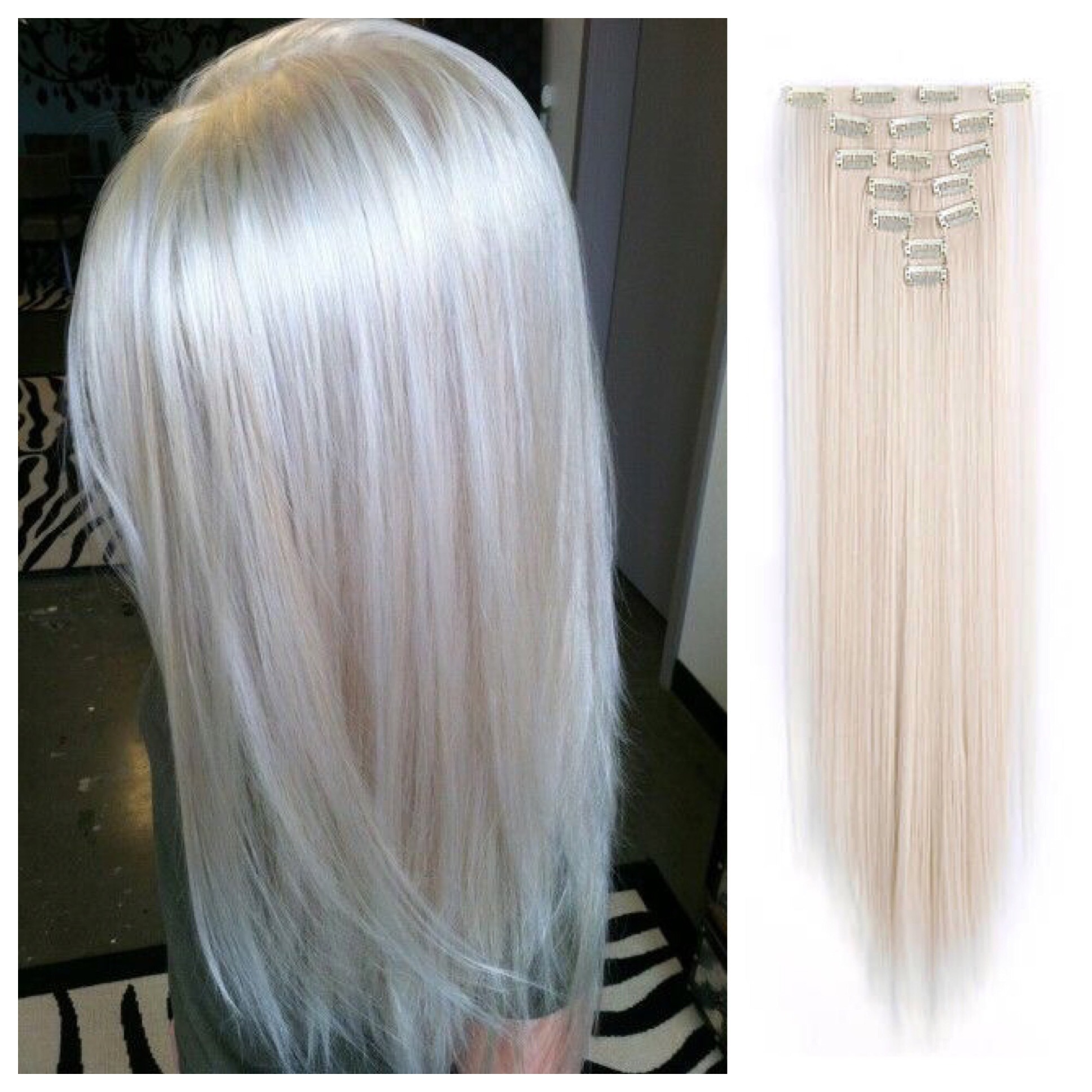Silver Lady Platinum Blonde Hair Extensions 24 Clip In Remy Human