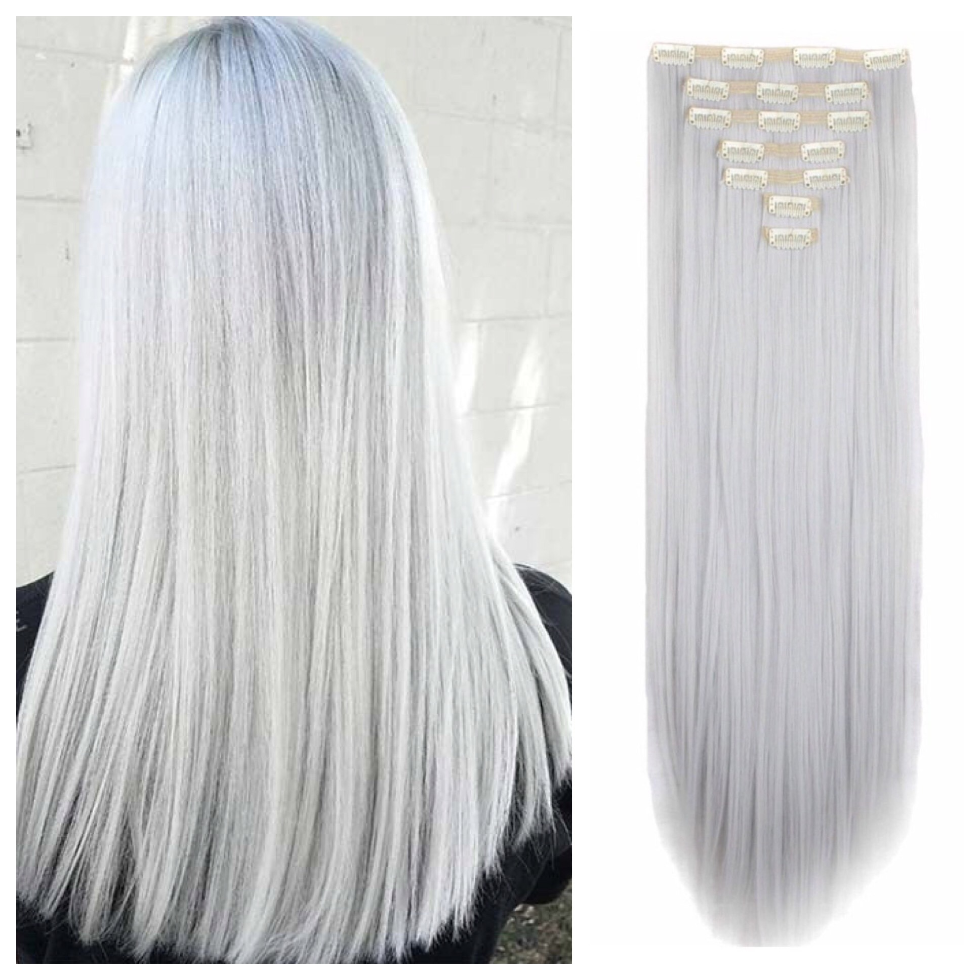 Grey Clip In Hair Extensions 26 Remy Human Hair 200g Double Weft