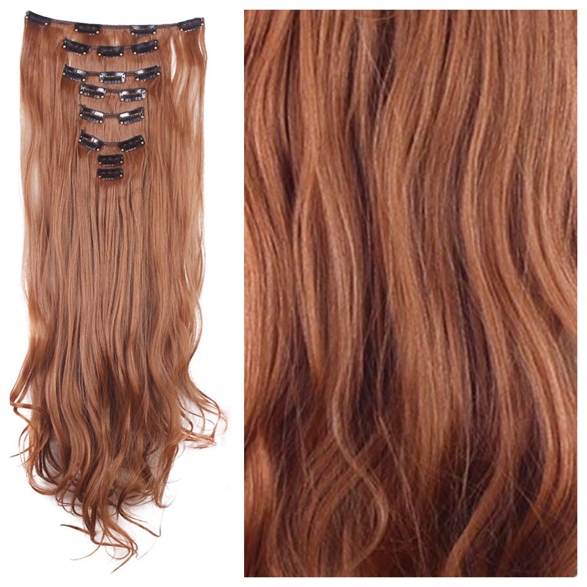 Light Auburn Hair Extensions 24 Clip In Hair Weave 185g Curly Wavy