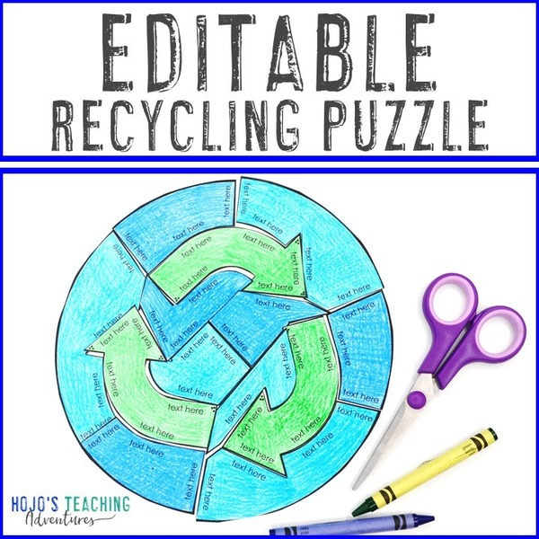 EDITABLE Recycling Puzzle for Elementary or Middle School Kids