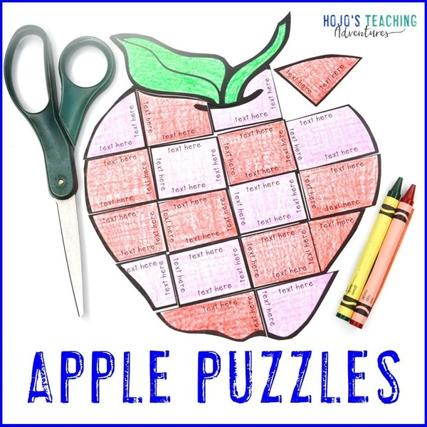 EDITABLE Apple Puzzle for Elementary or Middle School Kids