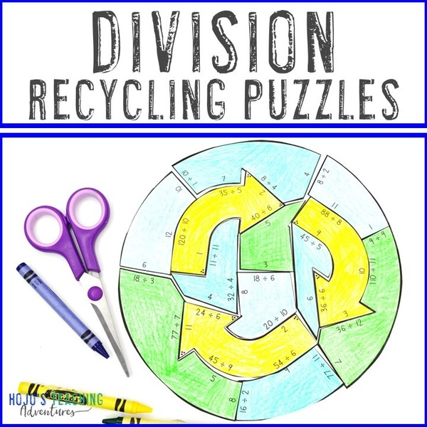 DIVISION Recycling Puzzles for 3rd, 4th, or 5th Grade
