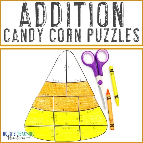 ADDITION Candy Corn Puzzles for 1st, 2nd, or 3rd Grade