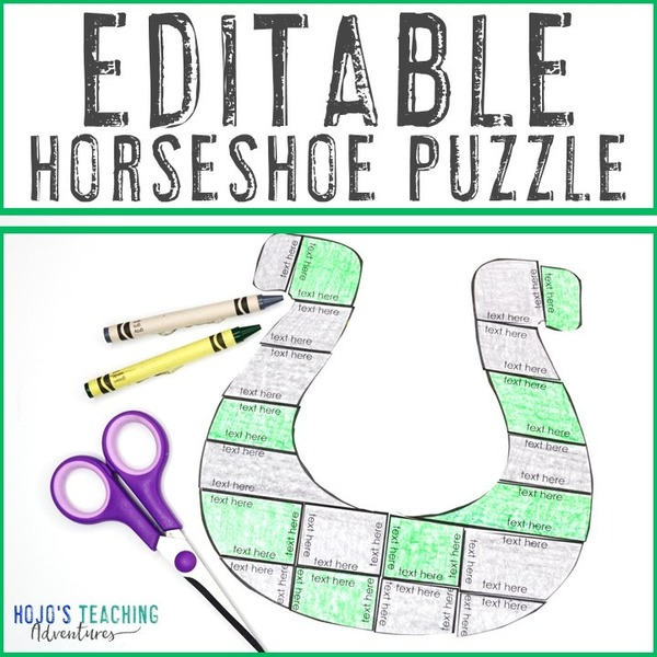 EDITABLE Horseshoe Puzzle for Elementary or Middle School