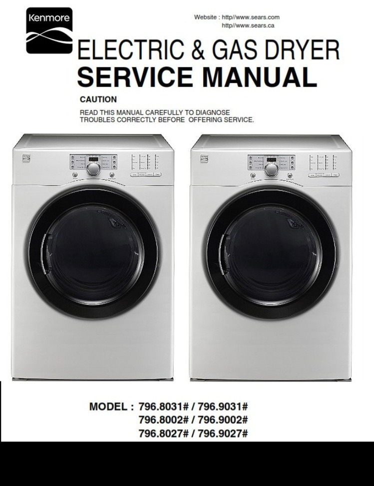 Service Manual Kenmore 80272 90272 80312 9031 8002 9002 dryer - ANY on