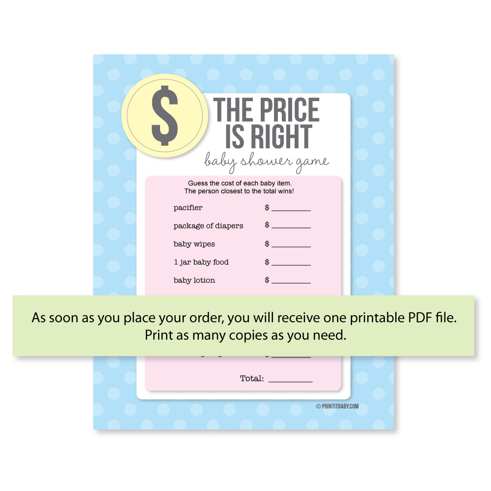 Printable The Price Is Right Baby Shower Game ...