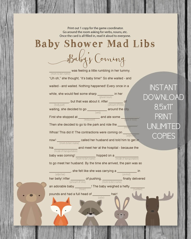 Modest image intended for baby shower mad libs printable