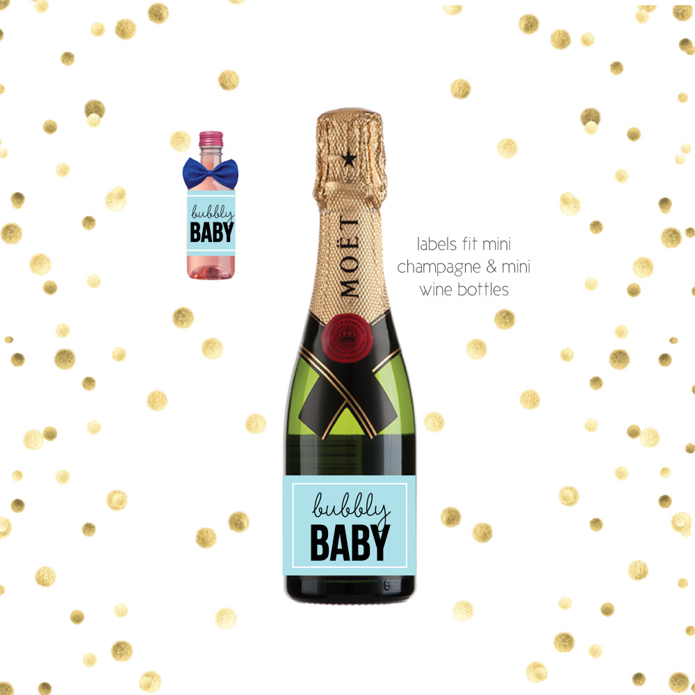 Mini Champagne Favor Labels Blue Bubbly Baby Print It Baby