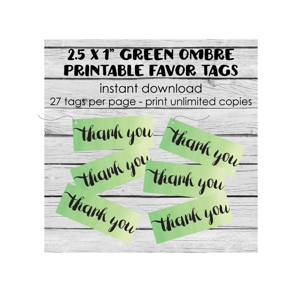 Free Printable Green Ombre Rectangle Thank You Tags - Print It Baby