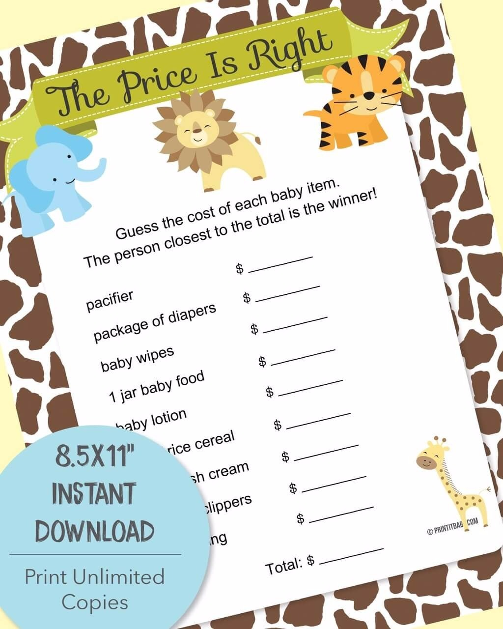 Price Is Right Baby Shower Game Plus Free Printable