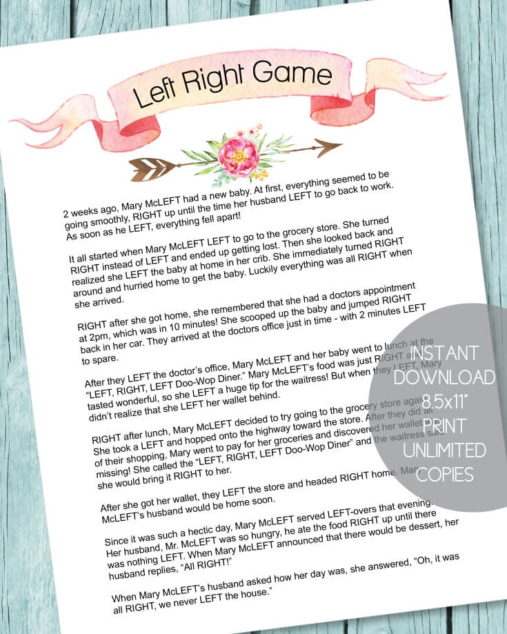 Left/Right Baby Shower Game - Welcome to Sitecore
