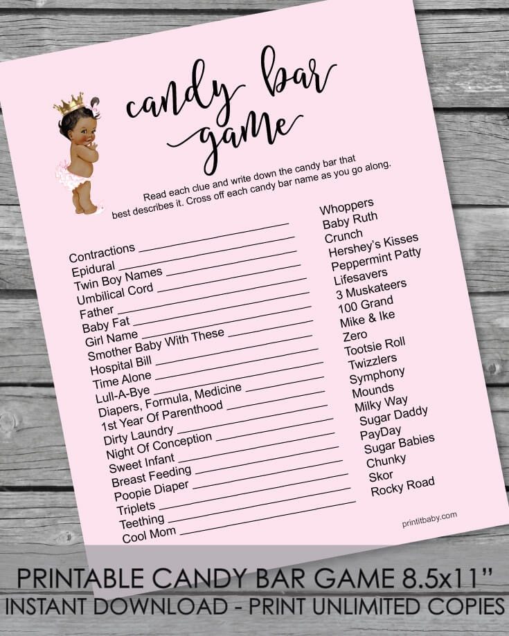 Printable Baby Shower Candy Bar Game African American Baby Girl