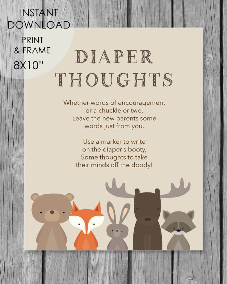 """Woodland Animals Printable """"Don't Say Baby"""" Clothespin ...  Woodland Creature Baby Shower Quotes"""