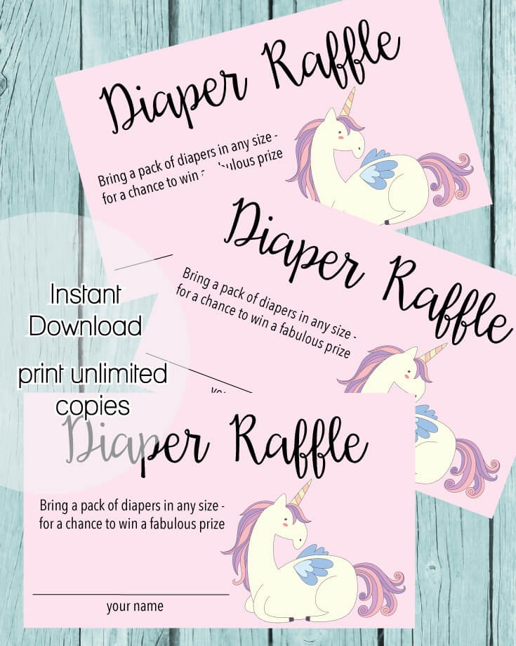 Printable Baby Shower Diaper Raffle Tickets - Pink Unicorn ...