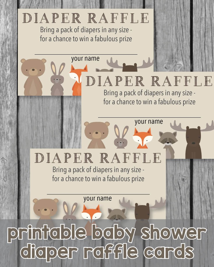Printable Baby Shower Diaper Raffle Tickets - Woodland Animals Theme ...