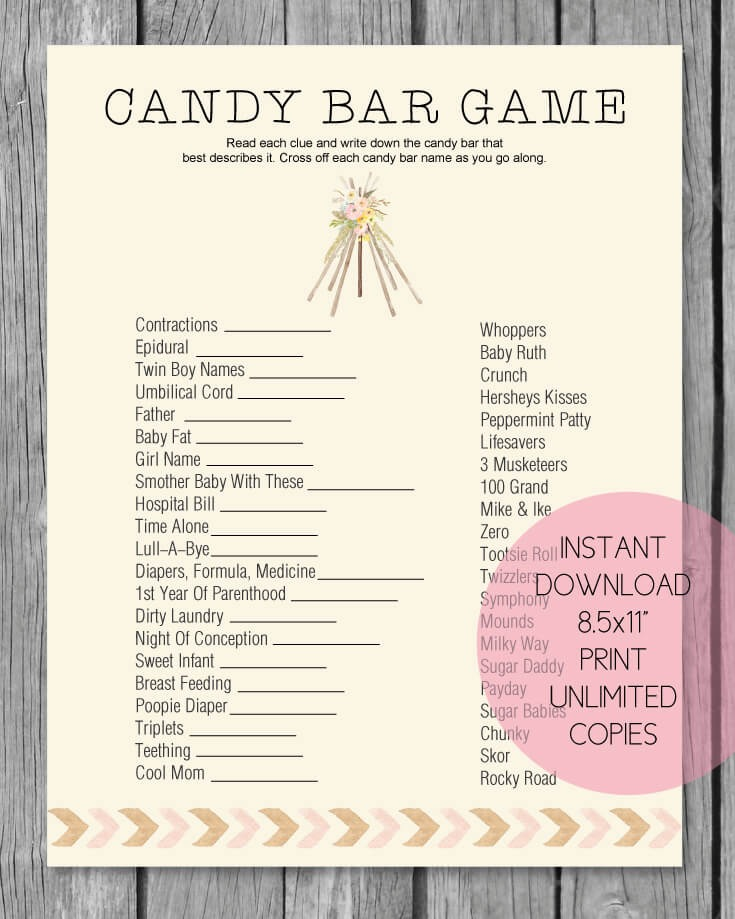 Selective image with regard to baby shower candy bar game printable