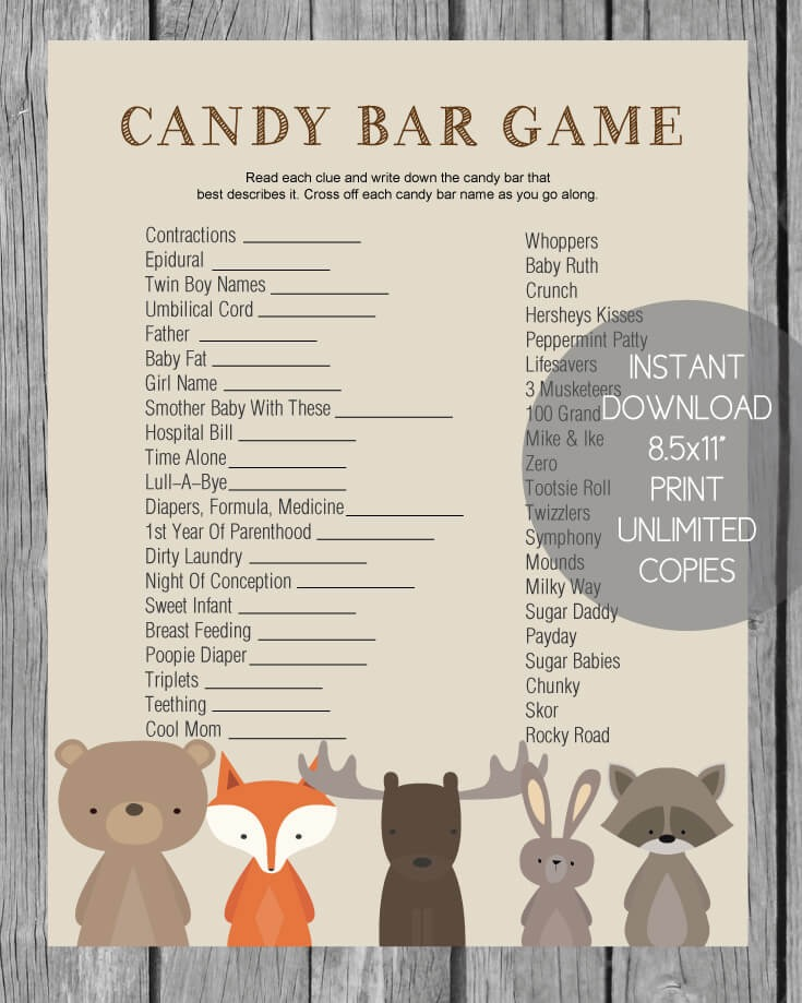 Baby Shower Candy Bar Game Woodland Animal Theme Print