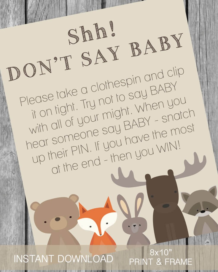 Baby Shower Clothes Pin Game Awesome Printable Don't Say Baby Clothespin Baby Shower Game Woodland