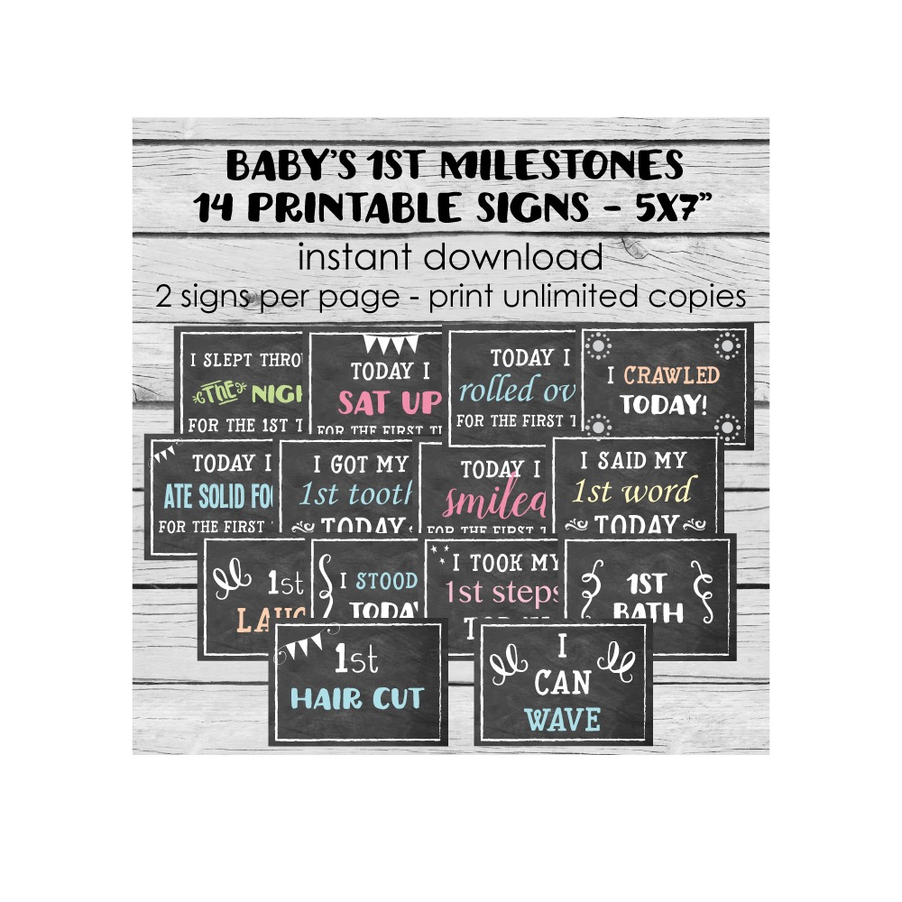 chalkboard baby s first milestones cards print it baby