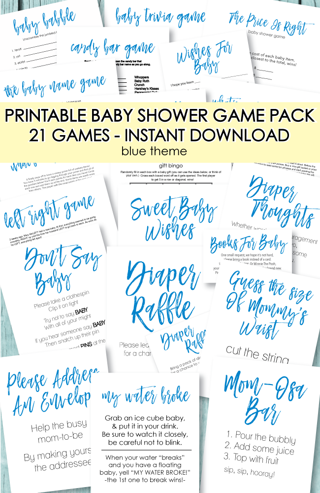 44b9b420d0295 21 Printable Baby Shower Games - Super Game Pack - Blue Theme - Print It  Baby