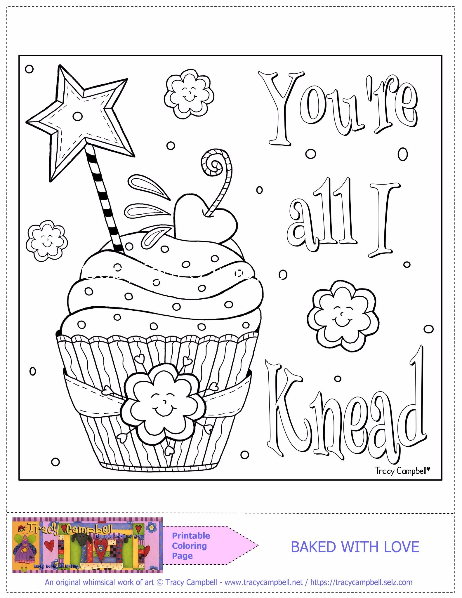 PRINTABLE COLORING PAGE—BAKED WITH LOVE